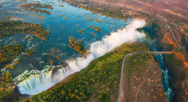 An aerial view of the stunning Victoria Falls, Africa Travel